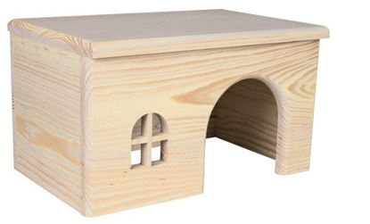 Obrázek Dřevěný domek s rovnou střechou pro králíky