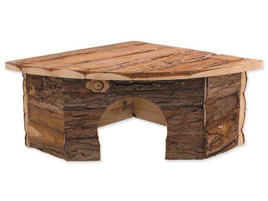 Obrázek Domek Small Animal Rohový dřevěný s kůrou 30 x 30 x 16 cm