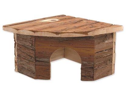Obrázek Domek Small Animal Rohový dřevěný s kůrou 22 x 22 x 13 cm