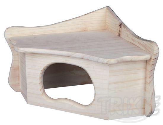 Obrázek Rohový domek dřevěný pro morčata 36 x 19 x 25 cm